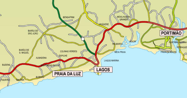 Luz, Lagos & Portimao Outline Map