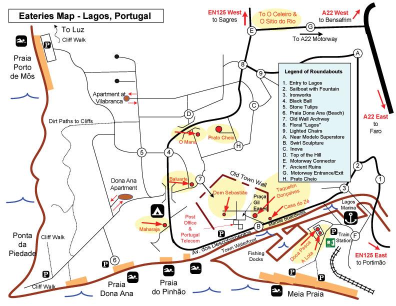 Maps Of The Algarve Lagos Praia Da Luz Portugal LuzInfocom - Praia map